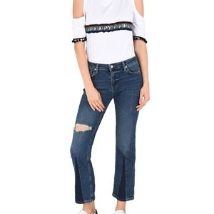 FREE PEOPLE 2 Tone Flared Cropped Denim Jeans-26